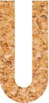 Kleefletter - plakletter - prikbord - kurk - vegan - letter U - 58 cm hoog