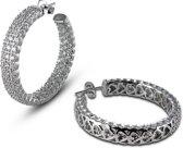 Silventi 921181405 - Zilveren Oorstekers - Cirkel met Zirkonia - 35 mm - Zilverkleurig