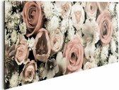 Boeket bloemen - Schilderij 90 x 30 cm