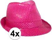 4x Voordelige Toppers neon roze trilby hoed met pailletten