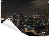 Horizon van Jersey City in Amerika verlicht in de nacht Tuinposter 160x120 cm - Tuindoek / Buitencanvas / Schilderijen voor buiten (tuin decoratie) XXL / Groot formaat!