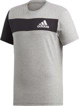 adidas Sport ID Tee Heren Sportshirt - Medium Grey Heather/Black - Maat L
