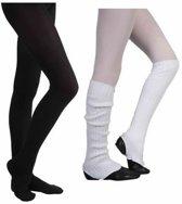 Ballet Beenwarmer Wit  60cm en Balletmaillot Zwart - Maat 116/122