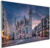 Kerk Santa Maria del Mar in Barcelona Glas 90x60 cm - Foto print op Glas (Plexiglas wanddecoratie)