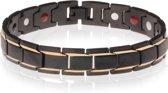 Magnetische heren armband Edelstaal Mat Zwart met Goudkleurig