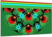 Glasschilderij Abstract   Groen, Rood, Blauw   120x70cm 1Luik   Foto print op Glas    F004331