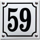 Emaille huisnummer wit/zwart nr. 59