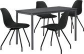 Eetkamerset Ede - tafel grijs 140x60cm met 4 stoelen zwart