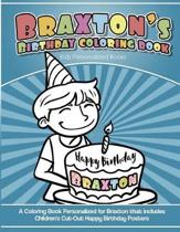 Braxton's Birthday Coloring Book Kids Personalized Books