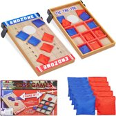 relaxdays bordspel 2 in 1 - set - cornhole   boter kaas en eieren - tic tac toe - OXO