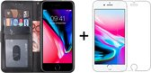 iPhone 6 Plus Hoesje - iPhone 6S Plus Hoesje - Bookcase Zwart - 1 x Tempered Glass Screenprotector