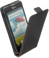 LELYCASE LG Optimus L5 2 Dual E455 Leer Flip Case Cover Hoesje Zwart