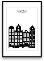 Amsterdam stadposter - Zwart-wit