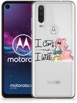 Motorola One Action Telefoonhoesje met Naam i Can