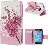 Samsung Galaxy J1 roze bloem agenda wallet hoesje