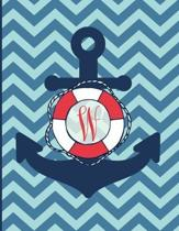 W: Monogram Initial W Notebook - 8.5'' x 11'' - 100 pages, college ruled - Nautical Chevron Anchor Journal