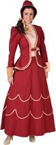 Volwassenenkostuum Charles Dickens dames rood maat XXL