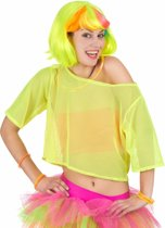 Geel netstof jaren 80 t-shirt voor vrouwen - Volwassenen kostuums