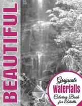 Beautiful Grayscale Waterfalls Adult Coloring Book
