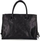 Fred de la Bretoniere Handtas Handbag Large Heavy Grain Leather Zwart