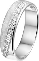 The Jewelry Collection Ring Zirkonia En Gescratcht - Zilver Gerhodineerd