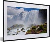 Foto in lijst - Rotsformaties voor de Niagarawatervallen fotolijst zwart met witte passe-partout 60x40 cm - Poster in lijst (Wanddecoratie woonkamer / slaapkamer)