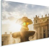 Zonnestralen langs de fontein op het Sint Pietersplein Plexiglas 180x120 cm - Foto print op Glas (Plexiglas wanddecoratie) XXL / Groot formaat!