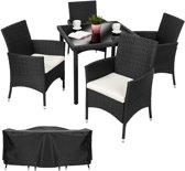 TecTake Wicker Sevilla tuinset - zwart - 4 stoelen en 1 tafel