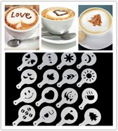 Cappuccino Sjablonen – Barista Stencils - Cacao figuur - Cappuccino Art - Latte Stencils - Cappuccino Sjabloon - Barista Tools Latte Art Set Sjablonen Figuren - Set van 16 Stuks
