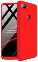 Teleplus Xiaomi Mi 8 Lite 360 Ays Hard Rubber Cover Case Red + Nano Screen Protector hoesje