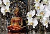 Fotobehang Buddha Zen Flowers Orchids Mandala | XXXL - 416cm x 254cm | 130g/m2 Vlies