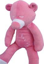Slapende teddebeer / knuffelbeer - slaapknuffel babykamer - Roze