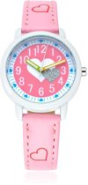 Meisjes Horloge – Roze met Hartjes – Leren Bandje - Girls Watch