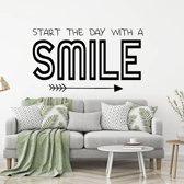 Muursticker Start The Day With A Smile -  Zilver -  120 x 66 cm  - Muursticker4Sale