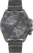 Guess Watches  W0659G3 Viper - Horloge - Leer - Grijs - Ø 46 mm