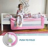 Stevig Inklapbaar Bedhekje - Easyfit Bedrekje - Baby/Peuter Bedrand - Meisjes - Roze - 120 Centimeter