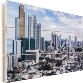 Vele hoge gebouwen in het centrum van Panama Stad Vurenhout met planken 120x80 cm - Foto print op Hout (Wanddecoratie)