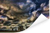 Donker blauwe wolken boven de Stonehenge Poster 90x60 cm - Foto print op Poster (wanddecoratie woonkamer / slaapkamer)