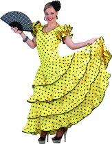 Geel flamenco kostuum met stippen voor vrouwen  - Verkleedkleding - Medium