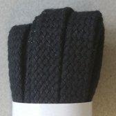 1 paar 180cm lange zwarte Schoenveters - Bergal 8856 - Zwart, plat, breed 8mm x 180cm