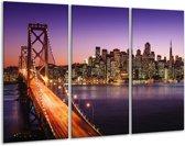 Glasschilderij Brug   Oranje, Paars   120x80cm 3Luik   Foto print op Glas    F006038