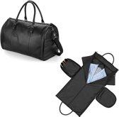Senvi - Leather-Look Weekend Kledingtas - Kleur Zwart