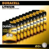 Duracell Knoopcel Lithium - CR2016 3V knoopcel batterijen - 90 mAh - voordeelverpakking - 20 stuks