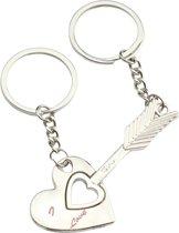 Geshe®-Sleutel hangers gekoppelde pijl en hartje met i love you tekst I LOVE YOU Liefde Hartsleutel-Your fashion signature!-Eco Verpakking