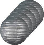 5x Luxe bol lampionnen zilver 25 cm - Feestversiering/decoratie