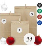relaxdays DHZ adventskalender - 24 papieren zakjes - cijferstickers - houten knijpers D