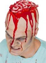 Halloween - Latex hoofdkap met openliggende hersenpan