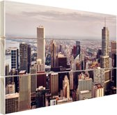 Stad Chicago Hout 60x40 cm - Foto print op Hout (Wanddecoratie)