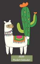 2020 Pocket Planner: January 2020 - December 2020 Mini Calendar - Monthly Dated With Yearly Spread and Notes Pages (Llama, Cactus)