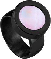 Quiges RVS Schroefsysteem Ring Zwart Glans 17mm met Verwisselbare Roze Schelp 12mm Mini Munt